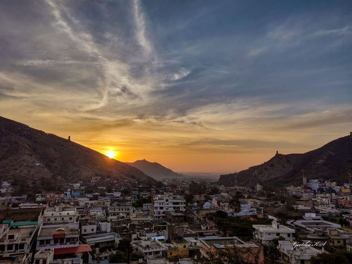 Sunrise in Amer PhonePhotography India Incredible India Pinkcity Jaipur Sunrise Rajasthan Amer Skyscape City Cityscape Fort Hill Wall Color Sky Sun Town Urban Skyline Lookout Tower TOWNSCAPE