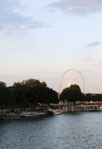 Boat Ferris Wheel France Fun Paris River River Seine Roue De Paris Sunset The Big Eye The Big Wheel ( La Grande Roue )  Tourist Destination Tourists