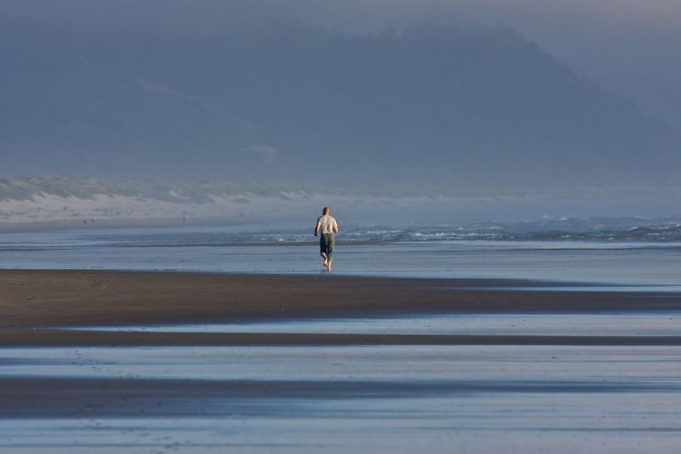 Rear view of a man walking on beach