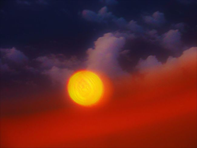 Astronomy Beauty In Nature Cloud - Sky Day Dramatic Sky Low Angle View Majestic Moon Nature No People Orange Color Outdoors Scenics Sky Sky Only Sun Sunset Tranquil Scene Tranquility