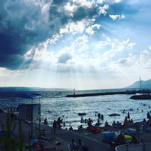 Sea Leisure Activity Sky Vacations Cloud - Sky Sunbeam Blue Cloudy Harbor Summer Croatia August Baska Voda IPhoneography Leto Godrays