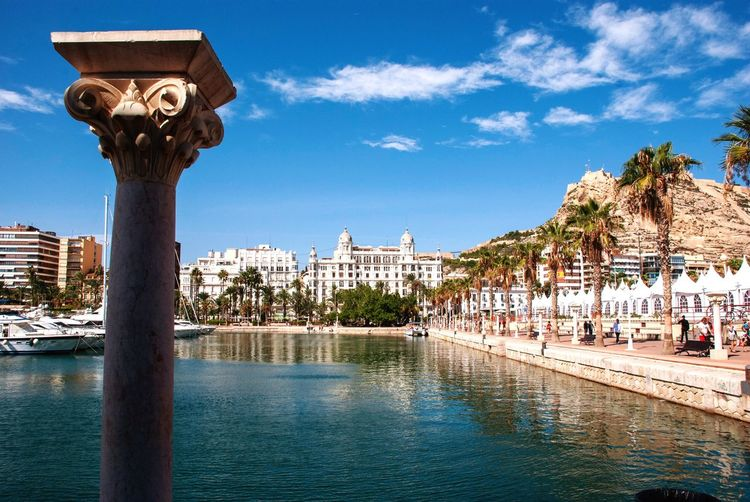 Alicante harbor Cityscape Costa Blanca Spanish SPAIN Harbor Architecture Alicante Water Sky Architecture Nature Plant Day Cloud - Sky Outdoors Waterfront Architectural Column No People City Blue Sunlight