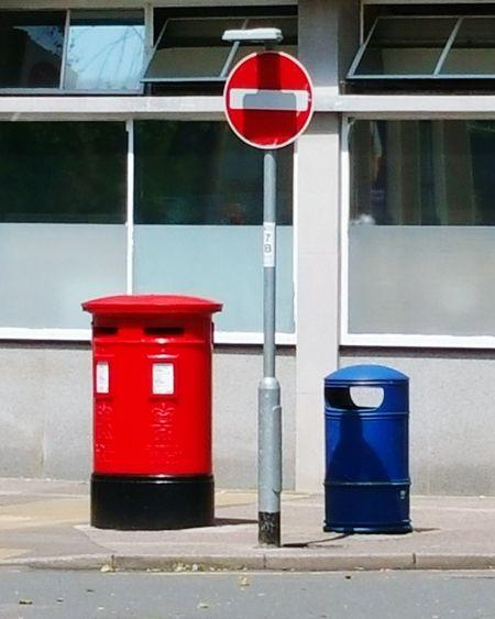 Sign Red Post Box Bin