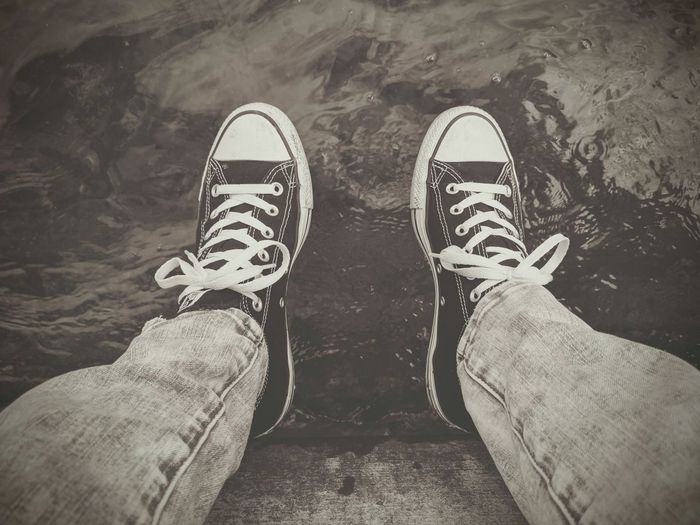 Sneakers Water Waterfront Blackandwhite Black And White Photography Water_collection Lakeview Shoe Personal Perspective One Person Canvas Shoe
