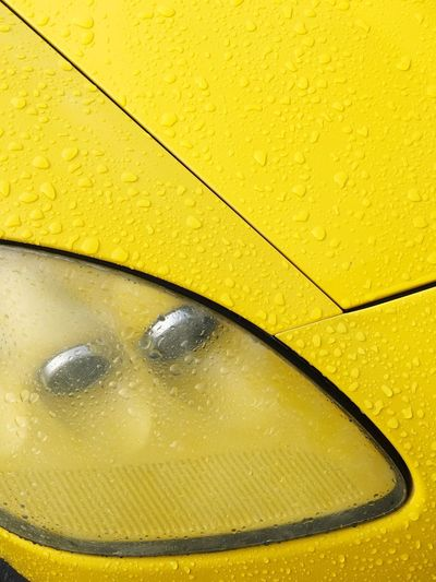 Rain Drop Yellow Car Sports Car Yellow Wet Close-up Full Frame No People Drop Backgrounds Water Day