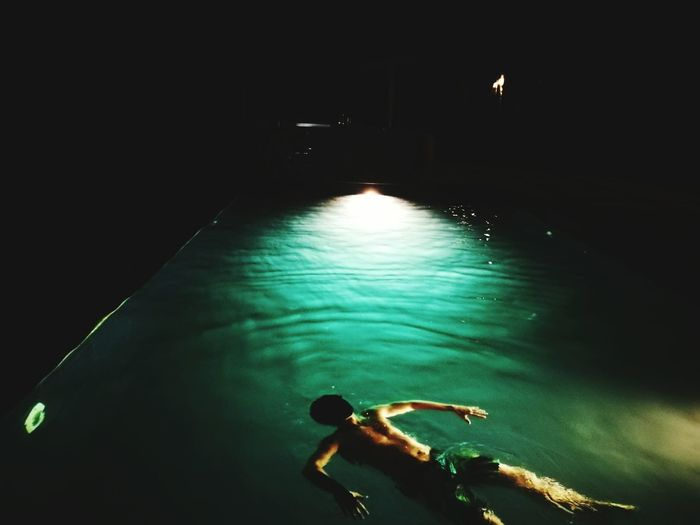 Water Swimming Tranquility Pool Lebanon Middle East Night Swimming