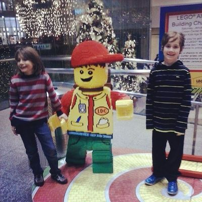 Elam and Jacoby at Crown Center. Lego Land!