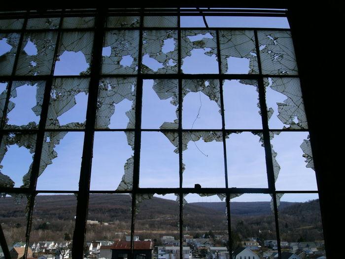 Shattered View Broken Window Abandoned Buildings