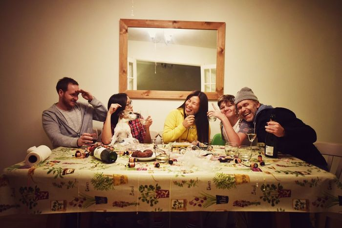 Last Supper Of 2015  Friends Drinking Party Laughter Happy Happy New Year Eating Da Vinci Last Supper Togetherness