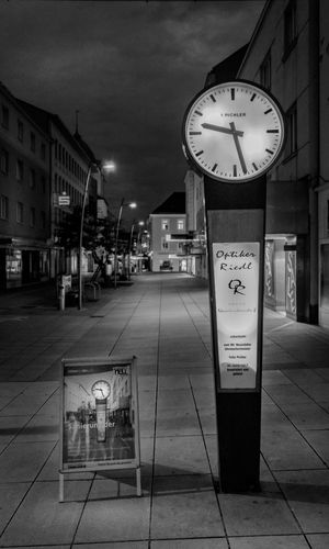 Architecture Building Exterior Built Structure City City Clock Clock Face Communication Dark Empty Half Past Nine Illuminated Midnight Minute Hand Night Nightphotography No People Outdoors Sky Text Time Time For Breakfast  Time To Reflect