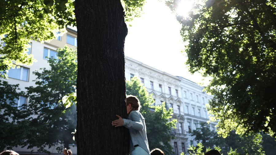 Person standing on tree trunk