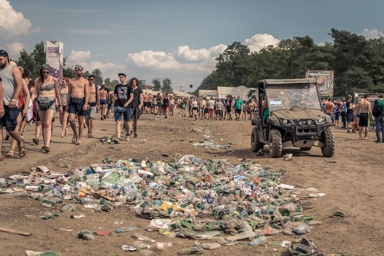 Real People Day Large Group Of People Crowd Group Of People Garbage Nature Men Lifestyles Environment Environmental Issues Sky Outdoors Adult Land Cloud - Sky Pollution Women Transportation Plastic Waste