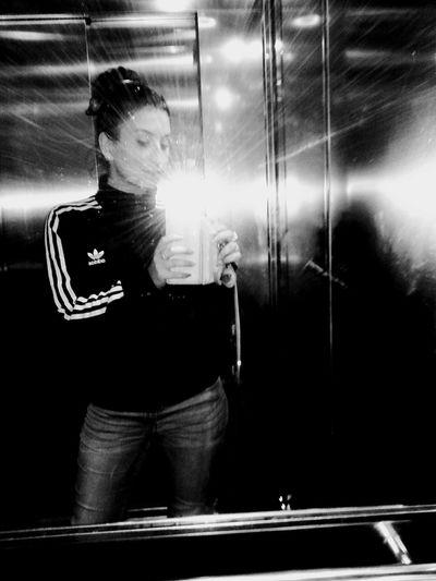 Black&white Elevator Selfie Adidasoriginals LazyFriday Aftermidnight Goingtobealongnight Meetingfriends
