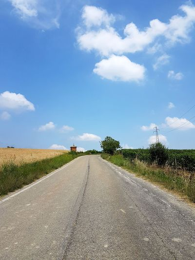 Cloud - Sky Sky Day The Way Forward Outdoors Road Nature Full Length Rural Scene Tree Grass Summer Langhe Piedmont Italy Travel Destinations No People Sunny Tranquility Vineyard Luminosity