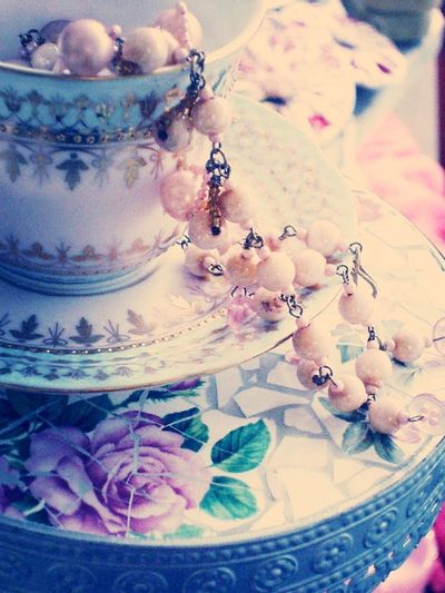 China No People May Your Cup Runneth Over Mosaic Mosaic Art Mosaic Tiles Pearls Necklace Cup And Saucer Flowers Indoors  Indoor Photography Stillife Colour Pink Pink Color Pink Flower Still Life Feminine  Luminous Luminouslight