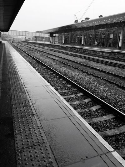 Snow Sky Waiting For A Train Delayed Work Day Travelphotography Tracks Rails Railway Station Filters Snow Day Sheffield Sheffield Train Station No Train Black And White Collection  Iphone 6