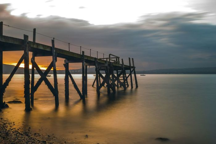 holywood pier. Pier Sunset Long Exposure Sea Boat Water Clouds Northern Ireland