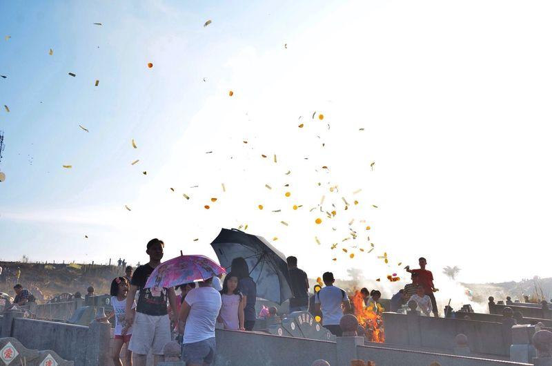 People on walkway at qingming festival