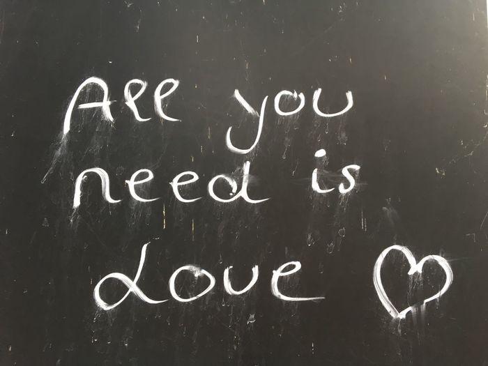 love Love Love Is All You Need, All You Need Is Love, Chalk, Blackboard, Tafel, Kreide, Communication Education Handwriting  Heart Love Message Message No People Text