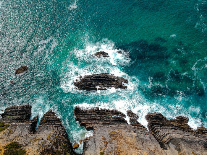 Drone  Nature Portugal Rock Travel Travel Photography Traveling Wave Aerial View Beauty In Nature Cavaleiro Cliff Day Dronephotography High Angle View No People Ocean Outdoors Photography Power In Nature Scenics - Nature Sea Travel Destinations Turquoise Colored Water