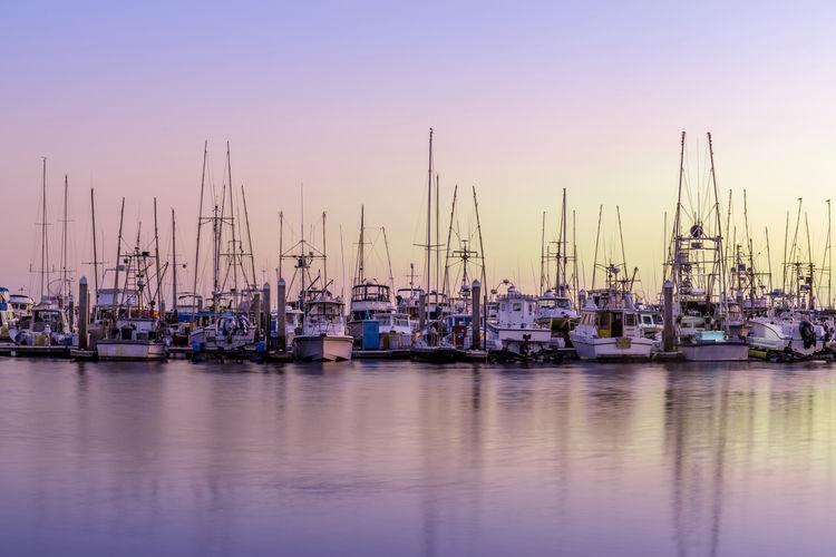 Boats berthed at pillar point harbor