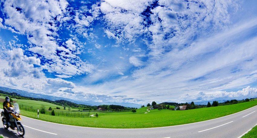 Blue Motorcycle Street Grass Green Cloud - Sky Nature Grass Panoramic Mountain Landscape Sky Outdoors