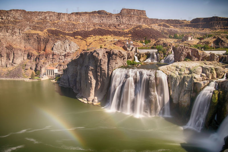 Shoshone Falls is one of the largest natural waterfalls in the United States and a natural attraction in Twin Falls .(Idaho) Shoshone Falls, Idaho Snake River Tourist Attraction  USA Beauty In Nature Environment Eroded Flowing Water Formation Idaho Long Exposure Mountain Nature No People Non-urban Scene Outdoors Power In Nature Rock Rock Formation Scenics - Nature Shoshone Falls Travel Travel Destinations Twin Falls Waterfall