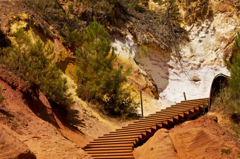 High angle view of steps by mountain