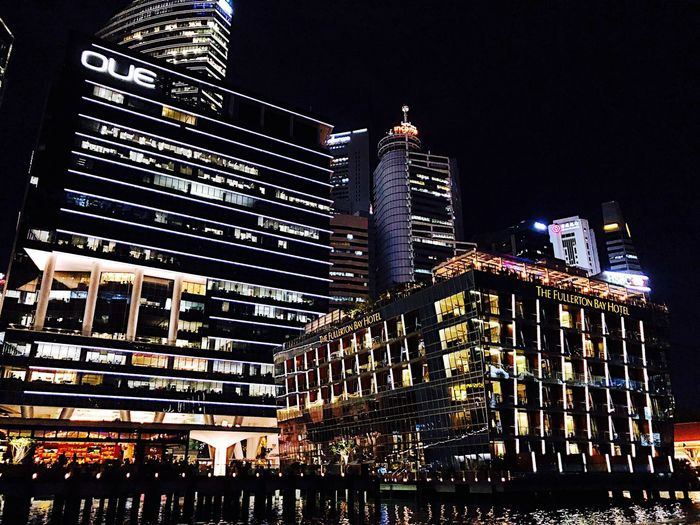 Singapore Built Structure Architecture Night Building Exterior Illuminated City Office Building Exterior No People Skyscraper Building Travel Destinations Tall - High Low Angle View Sky Nature Outdoors Modern Office Cityscape Light