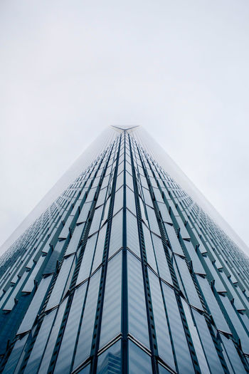 Abstract Architecture Building Building Exterior Built Structure City Clouds Connection Engineering Fog Future High Rise Lines Low Angle View Modern Office Building One World Trade Center Outdoors Perspective Skyscraper Smooth Structure Tall Tower Window