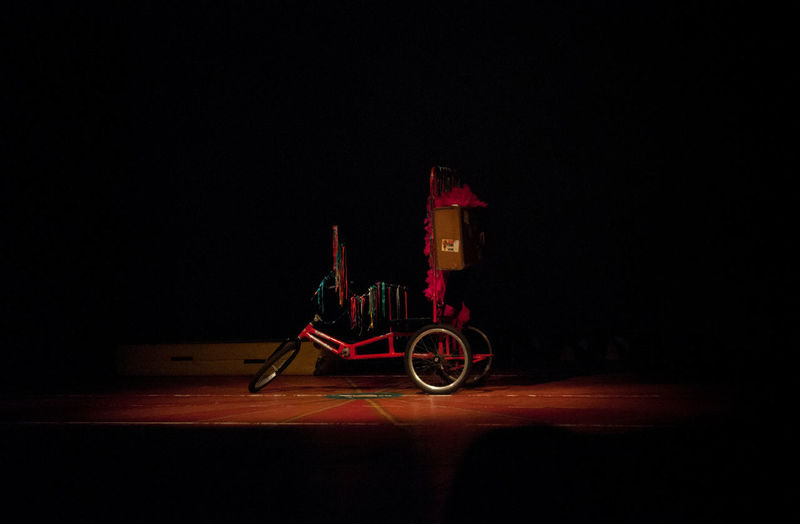 Bicycle Black Background Circus Before The Audience Dark Illuminated Night No People Where Is The Clown