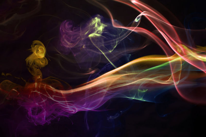 Close-Up Of Colorful Abstract Smoke Pattern Against Black Background