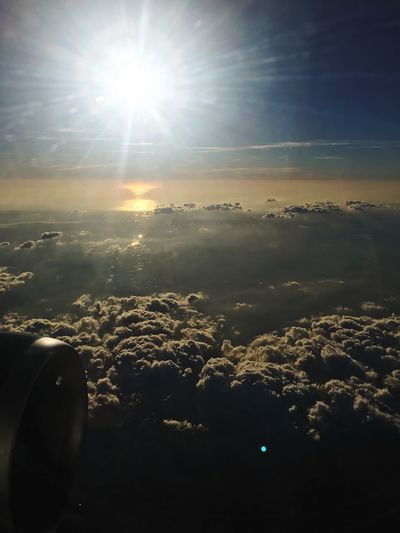 Airplaneview Sun Nature Beauty In Nature Sky Sunbeam No People Scenics Sunlight Tranquil Scene Outdoors Tranquility Sunset Cloud - Sky Landscape Airplane Airplane Wing EyeEm Ready   EyeEmNewHere