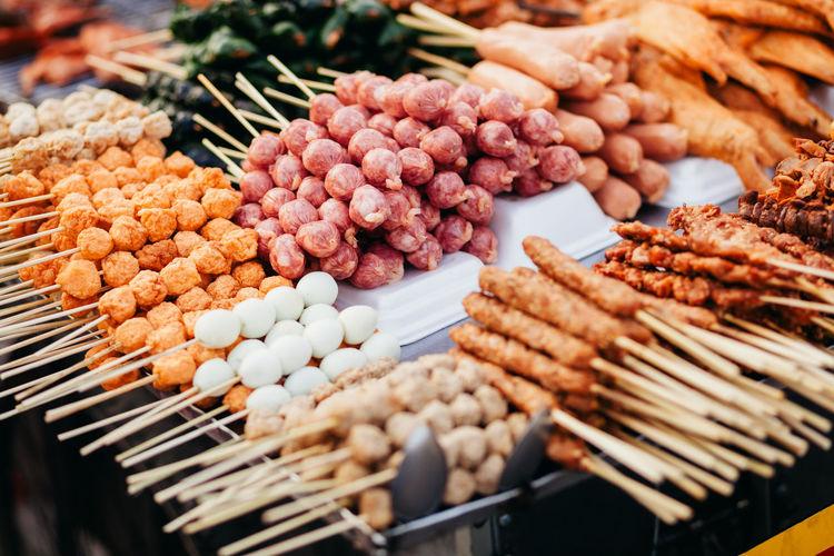 Food skewers for sale at market