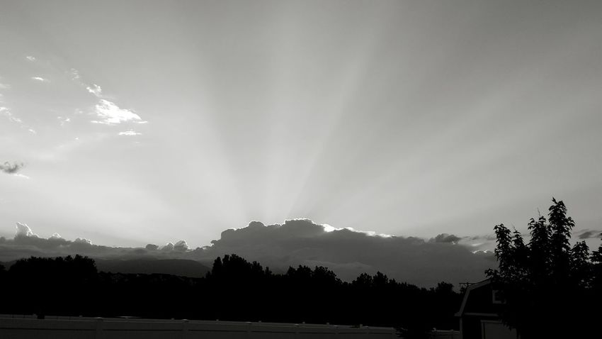 Great day for pics of the sky. Black And White Photography Clouds And Sky Sunrays Followme Monochrome Photography