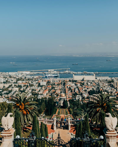 Bahai Gardens Bahai Gardens Haifa Travel Travel Photography Architecture Beauty In Nature Building Exterior Built Structure City Cityscape Clear Sky Day High Angle View Horizon Over Water Israel No People Outdoors Palm Tree Scenics Sea Sky Tourism Travel Destinations Tree Water EyeEmNewHere