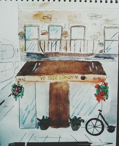 акварель кафе лондон скетчбук скетч акварельныйрисунок