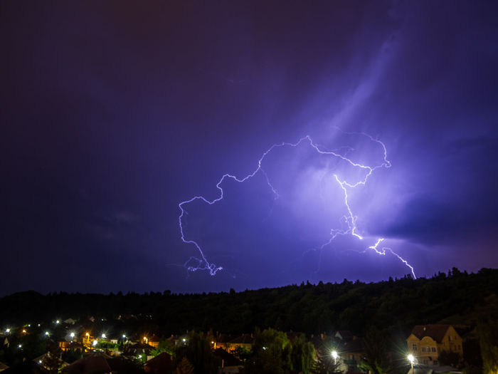 Architecture Beauty In Nature Building Exterior Built Structure Cloud - Sky Danger Dramatic Sky Electricity  Extreme Weather Forked Lightning Illuminated Lightning Nature Night No People Outdoors Power In Nature Scenics Sky Storm Storm Cloud Thunderstorm Tree Weather