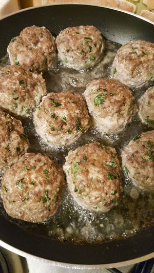 Meatballs in the pan Casserole Close-up Cooking Pan Food Food And Drink Freshness Fried Frying Pan Healthy Eating High Angle View Household Equipment Indoors  Japanese Food Kitchen Utensil Meat No People Pan Ready-to-eat Seafood Snack Still Life Vegetable Wellbeing