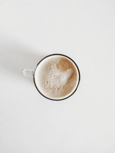 Homemade cappuccino. White Background From Above  Frothy Drink Cappuccino Drink Latte Drinking Glass Studio Shot Coffee - Drink Hot Drink Coffee Beverage Hot Overhead View