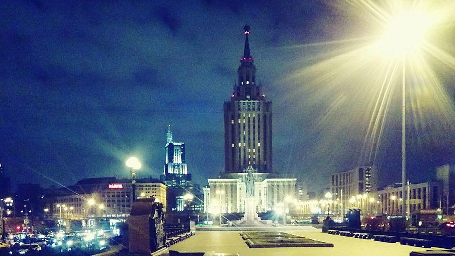 Night Architecture City Illuminated Street Light Urban Skyline Sky Москва Moscow Russia City Life Architecture Cloud - Sky Ленинградский Вокзал три вокзала
