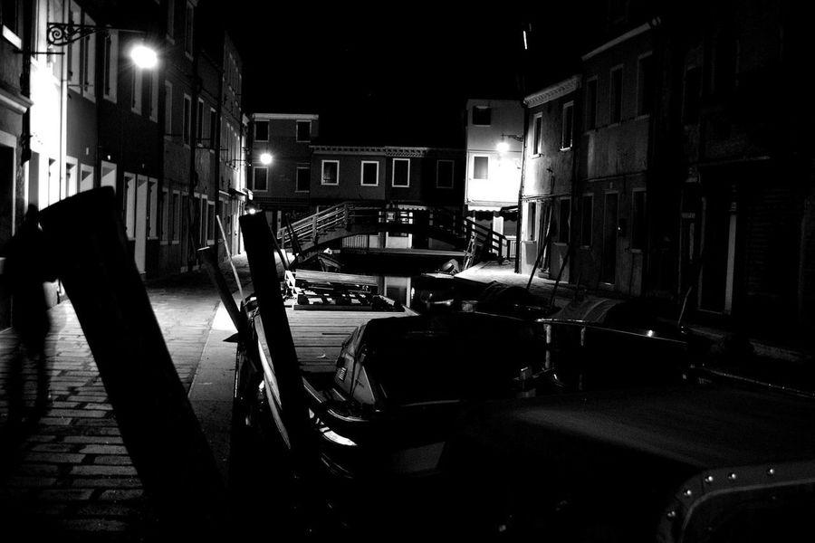 BURANO B/W Burano, Italy Burano, Venice EyeEmNewHere Gondola Italia Venezia Architecture Boat Burano Island Contrast Illuminated Italy❤️ Night Nightshooters Outdoors Transportation