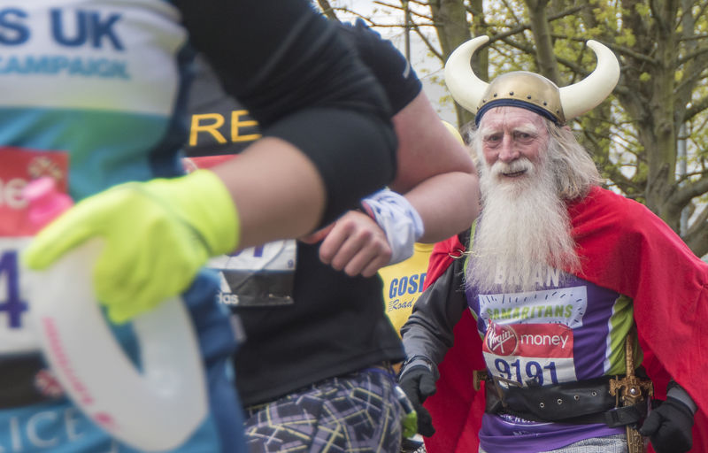 Beard Cap Casual Clothing Charity Color Colour Day Fancy Dress Focus On Foreground Good Cause Horns Leisure Activity Lifestyles London London Marathon Outdoors Running Selective Focus Up Close Street Photography Viking Warm Clothing