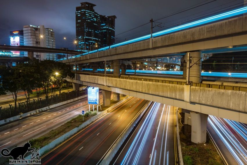 Illuminated Bridge - Man Made Structure Night Transportation Light Trail Speed Motion Architecture Connection MTR Hong Kong Lighting Traffic Built Structure Street Light City Elevated Road Road Blurred Motion City Life Street Vehicle Light Hong Kong Sony A7RII SEL1635F4ZA
