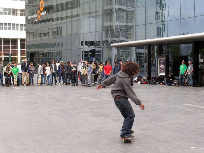 Group Of People Skateboarding Spuiplein The Hague, The Netherlands Leisure Activity City Life Street Streetphotography Casual Clothing Lifestyles City EyeEmNewHere
