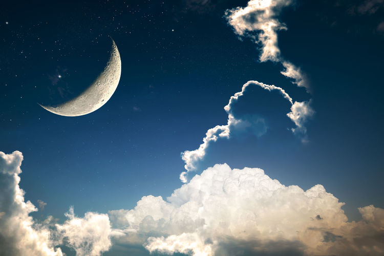A fantasy of night sky cloudscape with stars and a crescent moon overlaid, vintage color toned Astronomy Beauty In Nature Cloud - Sky Half Moon Idyllic Low Angle View Majestic Moon Moon Surface Nature Night Night Sky No People Outdoors Scenics Sky Sky Only Space Space Exploration Star - Space Tranquil Scene Tranquility Vintage
