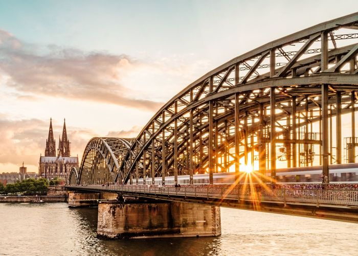 Bridge - Man Made Structure Sunset Architecture Built Structure Water Cloud - Sky Sky City Transportation Cityscape Urban Skyline Panoramic Travel Destinations No People Outdoors Golf Club Day Kölner Dom Cologne Cologne Cathedral Cologne , Köln,  Köln, Germany Horizon Over Water EyeEm Selects EyeEmNewHere