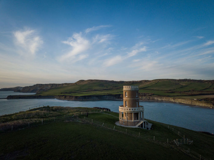 A view of Clavell Tower on the Dorset coast, UK, January 2019. Water Sky Scenics - Nature Cloud - Sky Tranquil Scene Beauty In Nature No People Tranquility Nature Architecture Built Structure Outdoors Bay Drone  Dronephotography Drone Photography Mavic Pro Clavell Tower Dorset Dorset Coast Coast Coastline England Aerial View