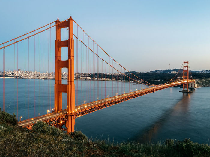 Architecture Bay Of Water Blue Bridge Bridge - Man Made Structure Built Structure Capital Cities  Clear Sky Connection Day Engineering Famous Place Golden Gate Bridge International Landmark Long Nature No People Outdoors River Sky Suspension Bridge Tourism Tranquility Travel Destinations Water