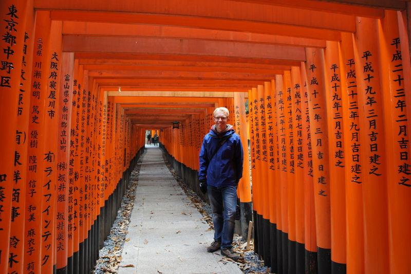 Full length of man standing in shrine